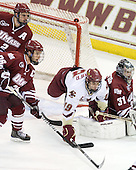 Martin Nolet (UMass - 2), Brett Watson (UMass - 26), Chris Kreider (BC - 19), Paul Dainton (UMass - 31) - The Boston College Eagles defeated the University of Massachusetts-Amherst Minutemen 6-5 on Friday, March 12, 2010, in the opening game of their Hockey East Quarterfinal matchup at Conte Forum in Chestnut Hill, Massachusetts.