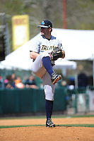 Trenton Thunder pitcher Jeremy Bleich (29) during game against the New Britain Rock Cats at New Britain Stadium on May 7 2014 in New Britain, CT.  Trenton defeated New Britain 6-4.  (Tomasso DeRosa/Four Seam Images)