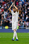 Karim Benzema of Real Madrid celebrates the victory during La Liga match between Real Madrid and Atletico de Madrid at Santiago Bernabeu Stadium in Madrid, Spain. February 01, 2020. (ALTERPHOTOS/A. Perez Meca)