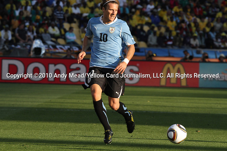 22 JUN 2010: Diego Forlan (URU). The Mexico National Team lost 1-2 to the Uruguay National Team at Royal Bafokeng Stadium in Rustenburg, South Africa in a 2010 FIFA World Cup Group A match.