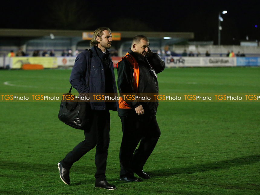 MK Dons Manager, Robbie Neilson arrives at the ground and walks across the pitch during AFC Wimbledon vs MK Dons, Sky Bet EFL League 1 Football at the Cherry Red Records Stadium on 14th March 2017