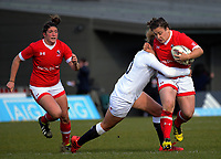Carolyn McEwen is tackled during the 2017 International Women's Rugby Series rugby match between England Roses and Canada at Rugby Park in Christchurch, New Zealand on Tuesday, 13 June 2017. Photo: Dave Lintott / lintottphoto.co.nz