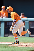 Tennessee Volunteers second baseman Jeff Moberg (6) runs to first base during a game against the South Carolina Gamecocks at Lindsey Nelson Stadium on March 18, 2017 in Knoxville, Tennessee. The Gamecocks defeated Volunteers 6-5. (Tony Farlow/Four Seam Images)