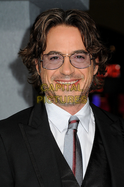 """ROBERT DOWNEY JR. .""""Due Date"""" Los Angeles Premiere held at Grauman's Chinese Theatre, Hollywood, California, USA,.28th October 2010..portrait headshot glasses grey gray white shirt tie red beard facial hair smiling .CAP/ADM/BP.©Byron Purvis/AdMedia/Capital Pictures."""