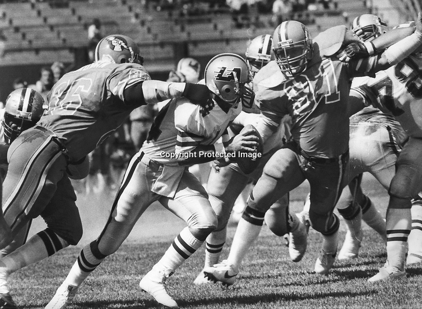 Los Angeles Express quarterback Tom Ramsey is sacked by Oakland Invader Cedrick Hardman and #91.<br />