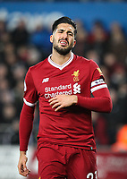 Emre Can of Liverpool shows frustration during the Premier League match between Swansea City and Liverpool at the Liberty Stadium, Swansea, Wales on 22 January 2018. Photo by Mark Hawkins / PRiME Media Images.