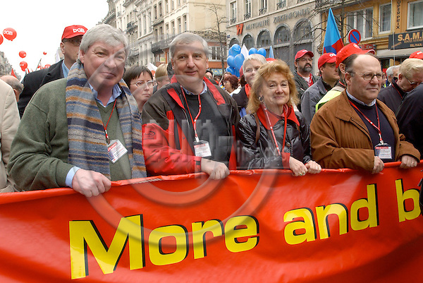 Brussels-Belgium - 19 March 2005---The European Trade Union Confederation (ETUC) called for a demonstration and more than 50.000 demonstrators came into the city of Brussels to demand more and better jobs, to defend a social Europe and to withdraw the Bolkestein directive; here, from left to right: Michael SOMMER, President of DGB (Deutscher Gewerkschaftsbund/German Confederation of Trade Unions), Friedrich/Fritz VERZETNITSCH, President of ÖGB (Oesterreichischer Gewerkschaftsbund/Austrian Confederation of Trade Unions), Ursula ENGELEN-KEFER, Vice-President of DGB---Photo: Horst Wagner/eup-images