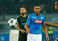 Faouzi Ghoulam reacts during the Champions League Group  soccer match between SSC Napoli - Manchester City   at the Stadio San Paolo in Naples 01 nov 2017