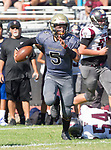Palos Verdes, CA 09-07-18 - Ethan Gretzinger (Peninsula #5), Jacob Boyd (Torrance #80) and \t54\ in action during the Torrance - Palos Verdes Peninsula Varsity football game.