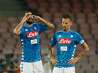 Raul Albiol  and Marek Hamsik  during the  italian serie a soccer match,  SSC Napoli - Milan      at  the San  Paolo   stadium in Naples  Italy , August 25, 2018