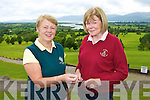 Team managers Noreen O'Mahony Ross and Aideen O'Leary Ballybunion toss the coin ahead on their clash in Killorglin golf course on Saturday