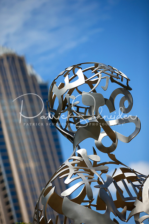 Photography of the First Ward Park in Uptown/Downtown Charlotte, North Carolina.<br /> First Ward Park is a 4.6 acre urban park  in the First Ward neighborhood.<br /> Sculpture joins the First Ward as new park comes together.<br /> <br /> Sculpture by Jaume Plensa, &quot;Ainsa III&quot; at the UNC Charlotte Center City Building<br /> <br /> <br /> <br /> Charlotte Photographer -PatrickSchneiderPhoto.com