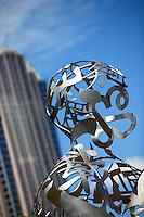 "Photography of the First Ward Park in Uptown/Downtown Charlotte, North Carolina.<br /> First Ward Park is a 4.6 acre urban park  in the First Ward neighborhood.<br /> Sculpture joins the First Ward as new park comes together.<br /> <br /> Sculpture by Jaume Plensa, ""Ainsa III"" at the UNC Charlotte Center City Building<br /> <br /> <br /> <br /> Charlotte Photographer -PatrickSchneiderPhoto.com"