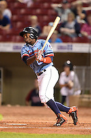 Cedar Rapids Kernels outfielder J.D. Williams (17) at bat during a game against the Quad Cities River Bandits on August 19, 2014 at Perfect Game Field at Veterans Memorial Stadium in Cedar Rapids, Iowa.  Cedar Rapids defeated Quad Cities 5-3.  (Mike Janes/Four Seam Images)