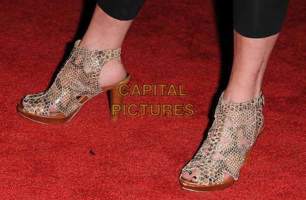 PAMELA BACH'S SHOES.The Maxim's Hot 100 List Party held at Barker Hangar in Santa Monica, California on .May 13th, 2009.feet heels open toe beige brown snakeskin wood wooden heels .CAP/DVS.©Debbie VanStory/Capital Pictures.
