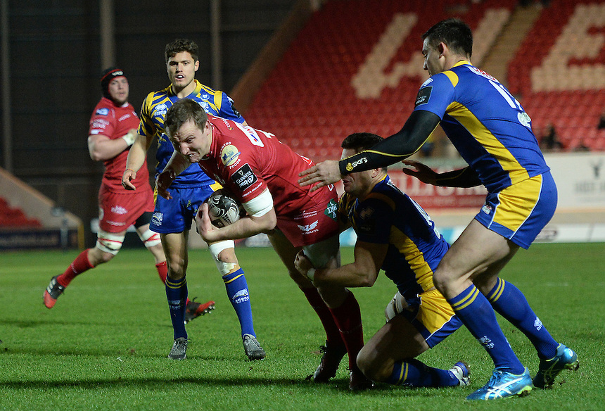 Scarlets' Hadleigh Parkes looks to get over the try line <br /> <br /> Photographer Ian Cook/CameraSport<br /> <br /> Guinness PRO12 Round 15 - Scarlets v Zebre - Friday 17th February 2017 - Parc y Scarlets - Llanelli, Wales<br /> <br /> World Copyright &copy; 2017 CameraSport. All rights reserved. 43 Linden Ave. Countesthorpe. Leicester. England. LE8 5PG - Tel: +44 (0) 116 277 4147 - admin@camerasport.com - www.camerasport.com