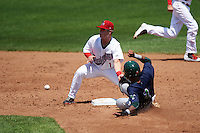 Auburn Doubledays second baseman Dalton Dulin (1) covers the bag as James Terrell (1) slides in during a game against the Vermont Lake Monsters on July 13, 2016 at Falcon Park in Auburn, New York.  Auburn defeated Vermont 8-4.  (Mike Janes/Four Seam Images)