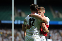 Johnny Williams of the England XV celebrates his second half try with team-mate Callum Sheedy. Quilter Cup International match between England XV and the Barbarians on June 2, 2019 at Twickenham Stadium in London, England. Photo by: Patrick Khachfe / Onside Images
