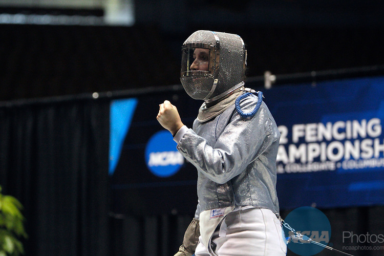 23 MAR 2012:  Rebecca Ward of Duke reacts to a point while competing against Monica Aksamit of Penn State in the saber competition of the Division I Women's Fencing Championship held at St. John Arena on the Ohio State University campus in Columbus, OH. Ward defeated Aksamit 15-12 to claim the national title.  Jay LaPrete/ NCAA Photos