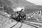 Furka cogwheel steam railway nearing Realp station. Switzerland, Western Europe, Grimsel-/Furka region, Uri. The steam engine HG 3/4 No. 1 Furkahorn DFB 1 was built in 1913. With an engine power of 600 hp and a weight of 42 tons it manages a maximum speed of 45 km/h on adhesion rails and 20 km/h on cogwheel rails. Note: No releases available. --- Info: In 1914 the first steam trains started from Brig and reached Gletsch traveling along the river Rhone. In the following years the line was extended and finally connected in Disentis with the Rhätische Bahn in 1926. Although the Furka-Oberalp-Bahn was electrified in 1942, due to the extreme climate and the topography of this alpine area the trains could not run between Oberwald and Realp through the winter. So in the 1970's a modern tunnel was built for all year use. In 1983 the Furka Cogwheel Steam Railway Club was founded by railway enthusiasts to repair and maintain the original track and rolling stock. This included bringing back and restoring the original steam engines that were sold of to Vietnam in 1947. In late summer 2010 the historic steam link over the Furkapass was finally fully reestablished!