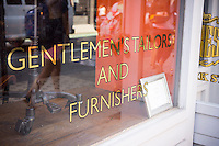 A mens' clothing shop selling furnishings and offering tailoring services on trendy Bleecker Street in New York on Friday, July 25, 2014. (© Richard B. Levine)
