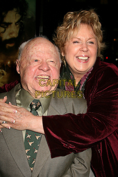 """MICKEY ROONEY & JAN ROONEY.Los Angeles Premiere of """"The Nativity Story"""" at Academy of Motion Picture Arts & Sciences, Beverly Hills, California, USA..November 28th, 2006.headshot portrait arms wrapped around hug embrace.CAP/ADM/BP.©Byron Purvis/AdMedia/Capital Pictures"""