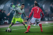 7th December 2017, Rajko Mitic Stadium, Belgrade, Serbia, UEFA Europa League football, Red Star Belgrade versus FC Cologne; Defender Pawel Olkowski of FC Koeln takes on Midfielder Nenad Krsticic of Red Star Belgrade