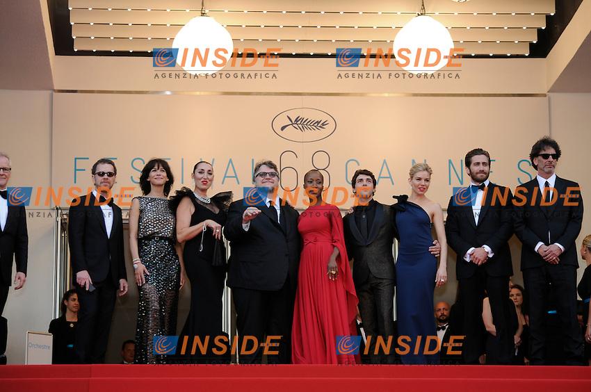 Pierre Lescure; Ethan Coen; Rossy de Palma; Guillermo del Toro; Rokia traore; Xavier Dolan; Sienna Miller; Jake Gyllenhaal; Sophie Marceau; Joel Coen Thierry Fremaux; jury <br /> Festival del Cinema di Cannes 2015<br /> Foto Panoramic / Insidefoto