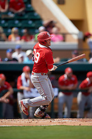 Florida Southern Moccasins catcher Evan Barnes (39) at bat during an exhibition game against the Detroit Tigers on February 29, 2016 at Joker Marchant Stadium in Lakeland, Florida.  Detroit defeated Florida Southern 7-2.  (Mike Janes/Four Seam Images)