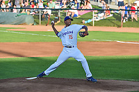 Ogden Raptors starting pitcher Chris Powell (15) delivers a pitch to the plate against the Orem Owlz in Pioneer League action at Lindquist Field on August 28, 2015 in Ogden, Utah. Ogden defeated Orem 14-6. (Stephen Smith/Four Seam Images)