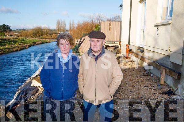 Marie & Eamon Roche whos garden has fallen in to the river in Abbeyfeale.