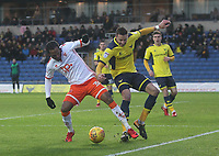 Blackpool's Nathan Delfouneso battles with Oxford United's Aaron Martin<br /> <br /> Photographer Mick Walker/CameraSport<br /> <br /> The EFL Sky Bet League One - Oxford United v Blackpool - Saturday 6th January 2018 - Kassam Stadium - Oxford<br /> <br /> World Copyright &copy; 2018 CameraSport. All rights reserved. 43 Linden Ave. Countesthorpe. Leicester. England. LE8 5PG - Tel: +44 (0) 116 277 4147 - admin@camerasport.com - www.camerasport.com