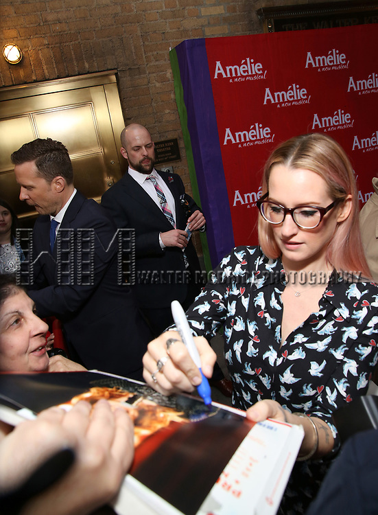 Will Chase and Ingrid Michaelson, signing autographs, attending the Broadway Opening Night performance of 'Amelie' at the Walter Kerr Theatre on April 3, 2017 in New York City