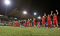 Portland, OR - Saturday August 19, 2017: Thorns salute the fans during a regular season National Women's Soccer League (NWSL) match between the Portland Thorns FC and the Houston Dash at Providence Park.