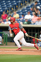Clearwater Threshers catcher Gabriel Lino (40) at bat during a game against the Dunedin Blue Jays on July 1, 2014 at Bright House Field in Clearwater, Florida.  Dunedin defeated Clearwater 1-0.  (Mike Janes/Four Seam Images)