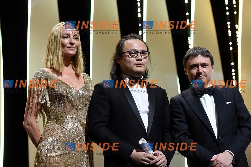 Uma Thurman, Qiu Yang, Cristian Miungu<br /> 28-05-2017 Cannes <br /> 70ma edizione Festival del Cinema <br /> Awards night . Serata Finale <br /> Foto Panoramic/Insidefoto