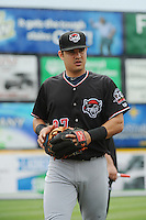 Erie Sea Wolves infielder Eugenio Suarez (27) during game against the Trenton Thunder at ARM & HAMMER Park on May 15, 2014 in Trenton, NJ.  Erie defeated Trenton 4-2.  (Tomasso DeRosa/Four Seam Images)