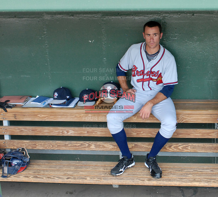 Starting pitcher Sean Gilmartin (2) of the Rome Braves waits in the dugout prior to a game against the Greenville Drive on August 16, 2011, at Fluor Field at the West End in Greenville, South Carolina. Gilmartin was Atlanta's first-round pick (No. 28 overall) in the 2011 First-Year Player Draft out of Florida State. Making his second start of the season, he pitched four scoreless innings, giving up one hit and striking out four. (Tom Priddy/Four Seam Images)