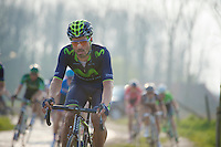 Fran Ventoso (ESP/Movistar) over the Varentstraat cobbles<br /> <br /> 57th E3 Harelbeke 2014