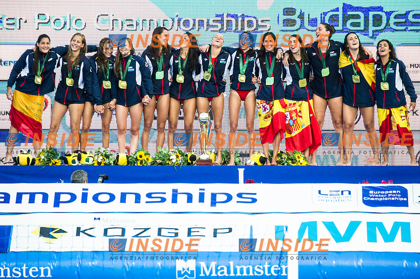 Podium<br /> SPAIN Gold Medal<br /> LEN European Water Polo Championships 2014 - July 14-27<br /> Alfred Hajos -Tamas Szechy Swimming Complex<br /> Margitsziget - Margaret Island<br /> Day13 Men - July 26<br /> Photo Guido Barbagelata/Inside/