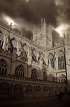 The Cathedral in Bath, Somerset, England against a dark stormy sky