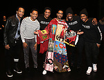 "James Harkness, Derrick Baskin, Jeremy Pope, E. Clayton Cornelious, Jawan M. Jackson and Ephraim Sykes during the Legacy Robe honoring E. Clayton Cornelious for ""Ain't Too Proud"" at the Imperial Theatre on 3/20/2019 in New York City."