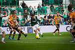 The home team's John McGinn scores his side's third goal at Easter Road stadium during second-half of the Scottish Championship match between Hibernian and visitors Alloa Athletic. The home team won the game by 3-0, watched by a crowd of 7,774. It was the Edinburgh club's second season in the second tier of Scottish football following their relegation from the Premiership in 2013-14.