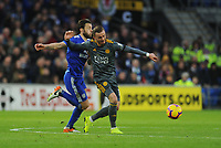 Leicester City's James Maddison under pressure from Cardiff City's Harry Arter<br /> <br /> Photographer Kevin Barnes/CameraSport<br /> <br /> The Premier League -  Cardiff City v Leicester City - Saturday 3rd November 2018 - Cardiff City Stadium - Cardiff<br /> <br /> World Copyright © 2018 CameraSport. All rights reserved. 43 Linden Ave. Countesthorpe. Leicester. England. LE8 5PG - Tel: +44 (0) 116 277 4147 - admin@camerasport.com - www.camerasport.com