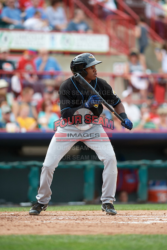 Akron RubberDucks center fielder Greg Allen (4) squares to bunt during a game against the Erie SeaWolves on August 27, 2017 at UPMC Park in Erie, Pennsylvania.  Akron defeated Erie 6-4.  (Mike Janes/Four Seam Images)