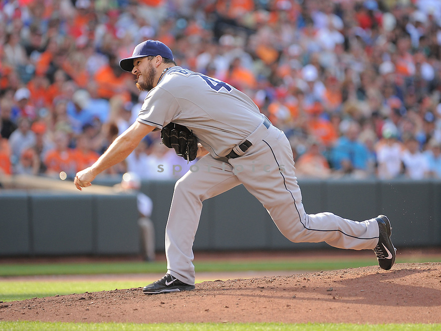 Tampa Bay Rays Erik Bedard (40) during a game against the Baltimore Orioles on June 28, 2014 at Oriole Park in Baltimore, MD. The Rays beat the Orioles 5-4.