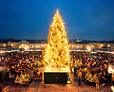 AUSTRIA, Vienna, Schonbrunn Christmas Market crowd standing by illuminated Christmas tree at dusk