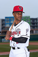 Lansing Lugnuts infielder Otto Lopez (2) poses for a photo before a Midwest League game against the Wisconsin Timber Rattlers at Cooley Law School Stadium on May 2, 2019 in Lansing, Michigan. (Zachary Lucy/Four Seam Images)