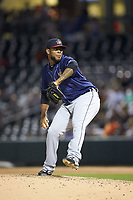 Toledo Mud Hens relief pitcher Jose Cisnero (32) in action against the Charlotte Knights at BB&T BallPark on April 24, 2019 in Charlotte, North Carolina. The Knights defeated the Mud Hens 9-6. (Brian Westerholt/Four Seam Images)