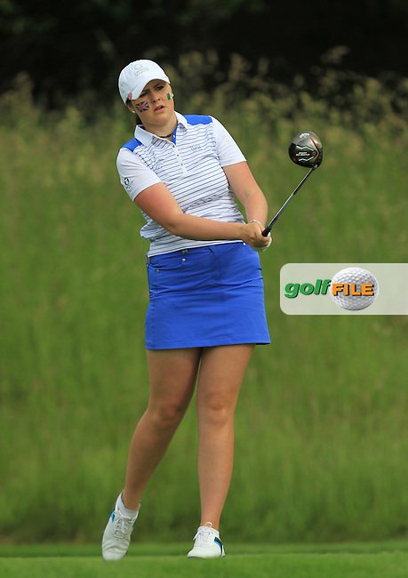 Olivia Mehaffey on the 3rd tee during the Friday morning Foursomes of the 2016 Curtis Cup at Dun Laoghaire Golf Club on Friday 10th June 2016.<br /> Picture:  Golffile | Thos Caffrey